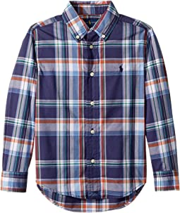 Plaid Stretch Cotton Shirt (Little Kids/Big Kids)