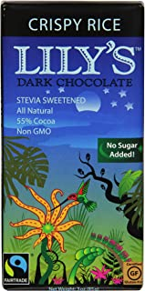 Lily's Dark Chocolate Bar with Stevia, Crispy Rice, 3 Ounce (Pack of 12)