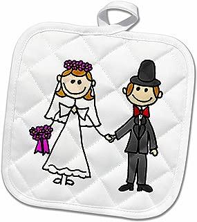 3D Rose Funny Stick Figure Wedding Bride and Groom Pot Holder, 8 x 8