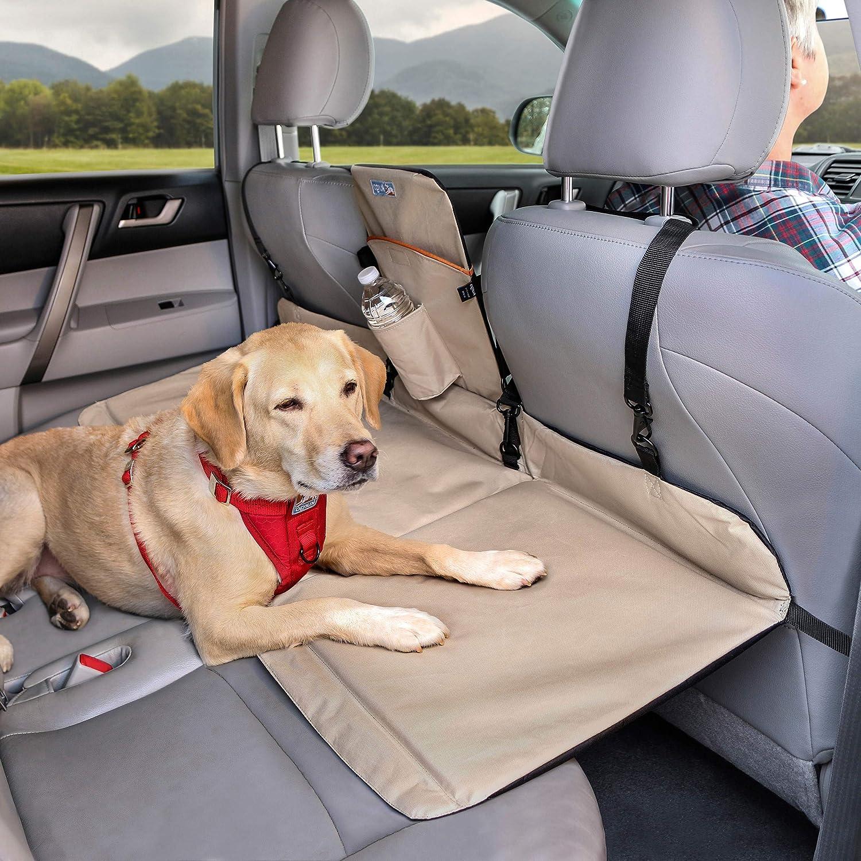 Kurgo - Separador y Extensor del Asiento Trasero del Automóvil para Perros, Ideal para la Mayoría de Automóviles y SUV, Perros máx. 45 kg, Resistente al Agua, Robusto, Reversible, Negro / Beig