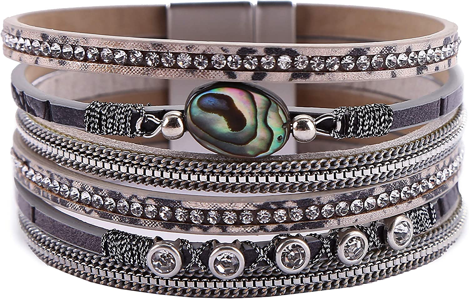 AOTOA Leopard Leather Wrap Regular discount Bracelet Cuff Crystal ! Super beauty product restock quality top! Wide Multilayer