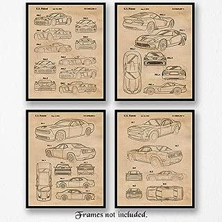 Original Dodge Demon, Viper, Challenger Hellcat Patent Poster Prints, Set of 4 (8x10) Unframed Photos, Great Wall Art Decor Gifts Under 20 for Home, Office, Studio, Student, Teacher, Cars & Coffee Fan