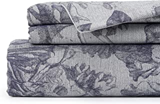 La Jolie Muse Queen Size Smoky Gray Duvet Cover Set with Slate Gray Floral Print - 100% Natural Cotton Bedding Set with Co...
