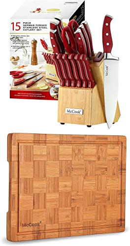 """popular McCook MC24 German 2021 Stainless new arrival Steel Knife Block Sets with Built-in Sharpener + MCW12 Bamboo Cutting Board (Small, 14""""x10""""x0.8"""") online sale"""