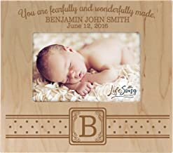 Personalized New Baby birth announcement picture frame for newborn boys and girls Custom photo frame for new mom and dad parents and grandparents You are fearfully and wonderfully made (Maple)