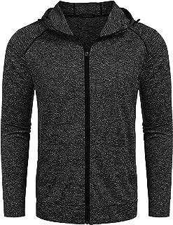 Men's Athletic Fit Full Zip Hoodie Quick Dry Active Running Shirt