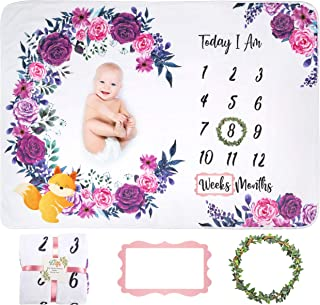 FriLife Baby Monthly Milestone Blanket - Photo Backdrop - Soft Flannel Fleece