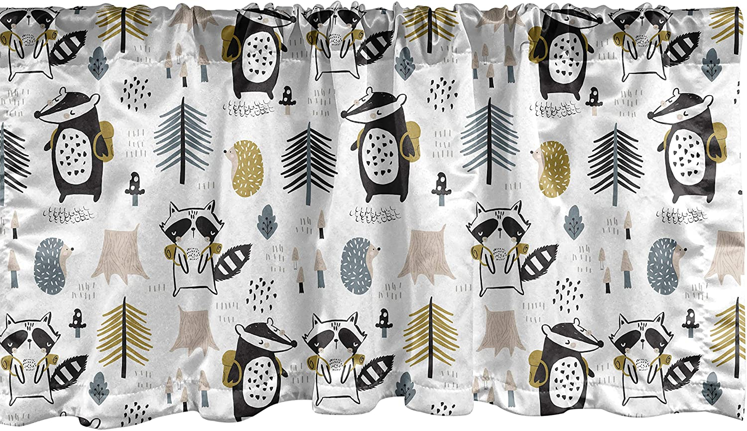 Lunarable Animal Window Valance Fore Raccoon Touristic Humorous Special Campaign OFFicial store