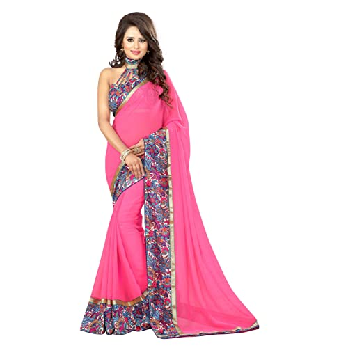 00b038a9deddd Livie Women s Georgette Sarees Party Wear Fancy Georgette Sarees Printed  Georgette Sarees
