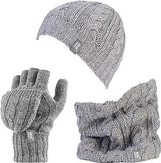 Mujer de polar sombrero de punto de cable, calentador del cuello y guantes conjunto Converter (Set)