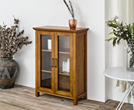 Elegant Home Fashions Weathered Logan Oak Floor Cabinet with Two Glass Doors, Wood