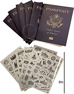 Passport  Little passports for kids  Travel scrapbook  Set with travel stickers world famous sights  Pretend play, party favors, airplane toy, journal notebooks, geography, classroom social study