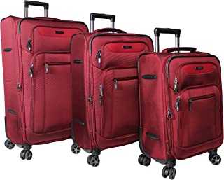 Dejuno Executive New Generation 3-Piece Spinner Luggage Set with USB Port, Burgundy