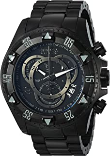 Invicta Men's 6474 Reserve Collection Excursion Chronograph Black Ion-Plated Watch, Analog Display