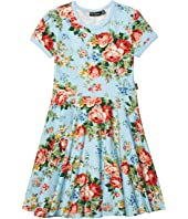 French Floral Short Sleeve Waisted Dress (Toddler/Little Kids/Big Kids)