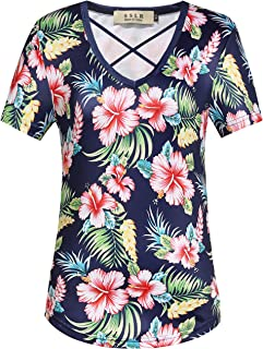 9e6680270105 SSLR Women s Floral V Neck Casual Short Sleeve Hawaiian T Shirt Tops
