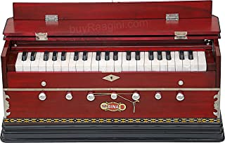 Harmonium, BINA No. 9A, In USA, 7 Stops, 3 1/2 Octaves, Rosewood Color, Coupler, Special Double Reeds, Bag, Book, Indian Musical Instrument (PDI-BCB)