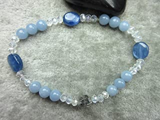 Genuine Angelite, Kyanite and Herkimer Quartz Healing Bracelet Bliss Angels