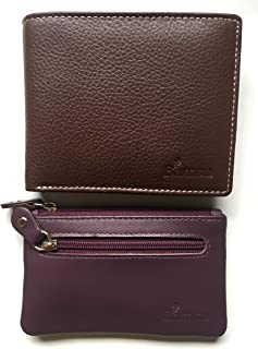 Bamsu Genuine Leather Chocolate Brown RFID Wallet and Compact Mini Purse with Zipper Pocket Small Slim Leather Wallet Comb...