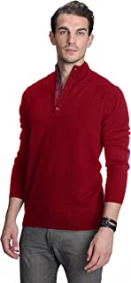 Button Up Mock Neck Sweater 100% Pure Cashmere Long Sleeve Polo Quarter Collar Pullover