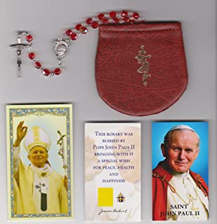 Glass Burnt Red Necklace Rosary Blessed by Pope Saint John Paul II with Papal Crucifix on 8/17/2002 in Krakow Poland with Rosary Case, Pictures of Mass and Holy Cards 18