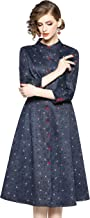 LAI MENG FIVE CATS Womens 3/4 Sleeve Houndstooth Button up Swing Casual A-line Belt Midi Dress Navy