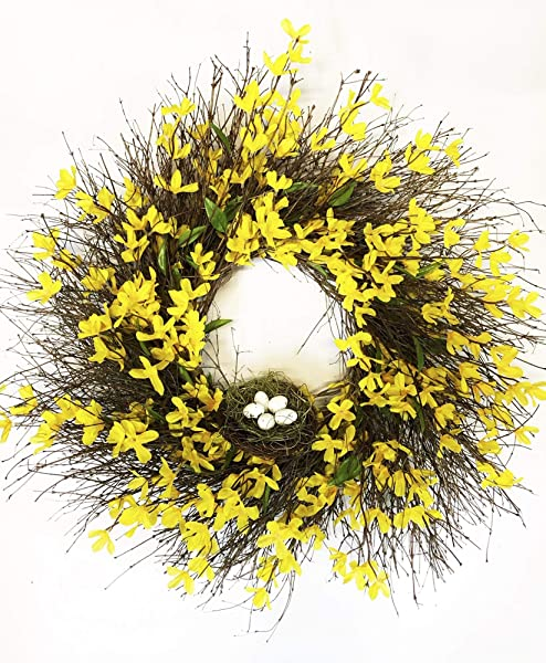 Spring Nest Yellow Wreath 22 Inch Silk Forsythia Natural Quail Brush Multiple Years Of Enjoyment Indoors Or Out Hand Made In The USA