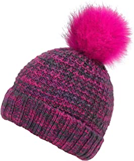 Arctic Paw Heathered Girls Children Mommy&me Multicolor Cable Knit Pompom Beanie