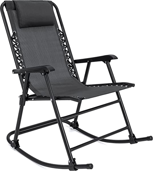 Best Choice Products Foldable Zero Gravity Rocking Mesh Patio Recliner Chair W Headrest Pillow Black