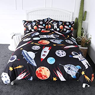 ARIGHTEX Outer Space Bedding Astronaut Rocket Ship Planets Stars Print Bedspread 3 Pieces Boys Space Adventure Duvet Cover Set (Twin)