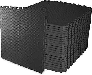 BalanceFrom Puzzle Exercise Mat with EVA Foam Interlocking Tiles (Black) (24 Peices Tiles)