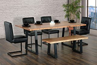 Primo International Kiel Dining Table, Natural and Black