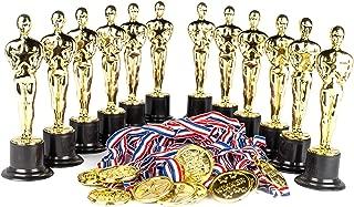 Award Medal of Honor Trophy Award Set of 24; Includes 12 Gold Winner Award Medals; 12 Gold Award Trophy Statues 6