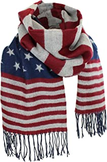 Women's Winter American Flag Fringed Shawl, Red, White and Blue Pashmina Wrap