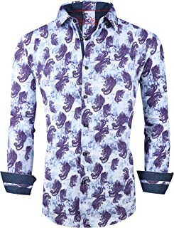 Mens Printed Dress Shirts Regular Fit Casual Button Down Shirt