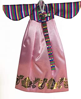 Korean Traditional Hanbok Dress fits Barbie Dolls (Pink)