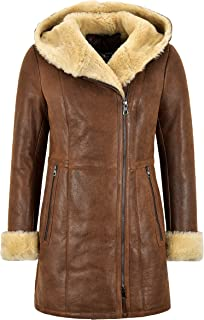 Smart Range Leather Ladies Sheepskin Jacket Copper Vintage Real Shearling Hooded B3 Long Jacket NV-39