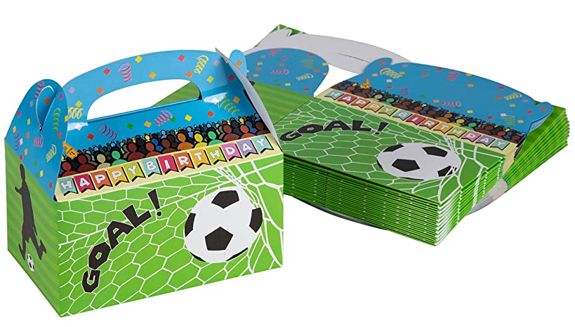 Treat Boxes - 24-Pack Paper Party Favor Boxes, Soccer Design Goodie Boxes for Birthdays and Events, 2 Dozen Party Gable Boxes, 6 x 3.3 x 3.6 inches