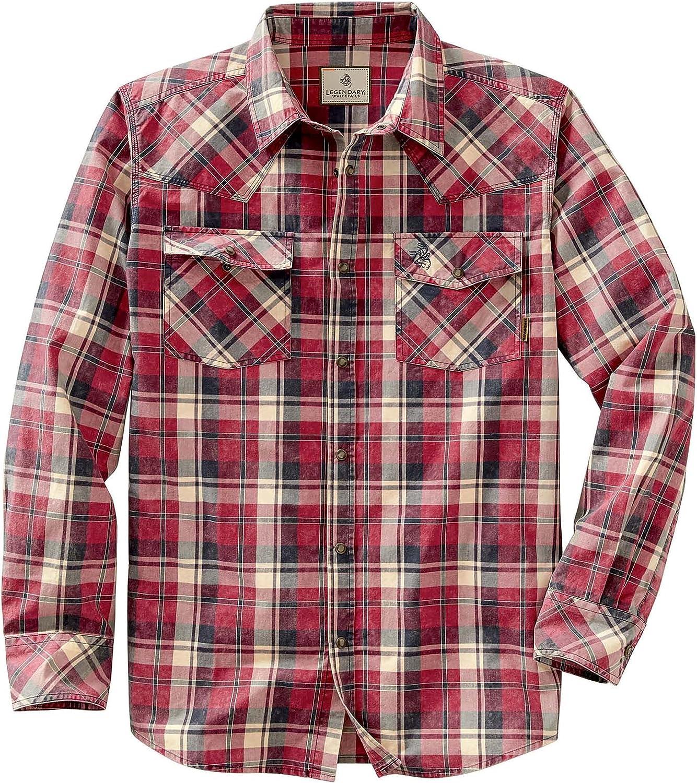 1950s Mens Shirts   Retro Bowling Shirts, Vintage Hawaiian Shirts Legendary Whitetails Mens Outlaw Western Shirt  AT vintagedancer.com