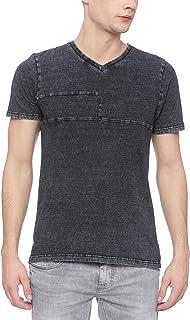 BASICS Muscle Fit Sulphur Black V Neck T Shirt