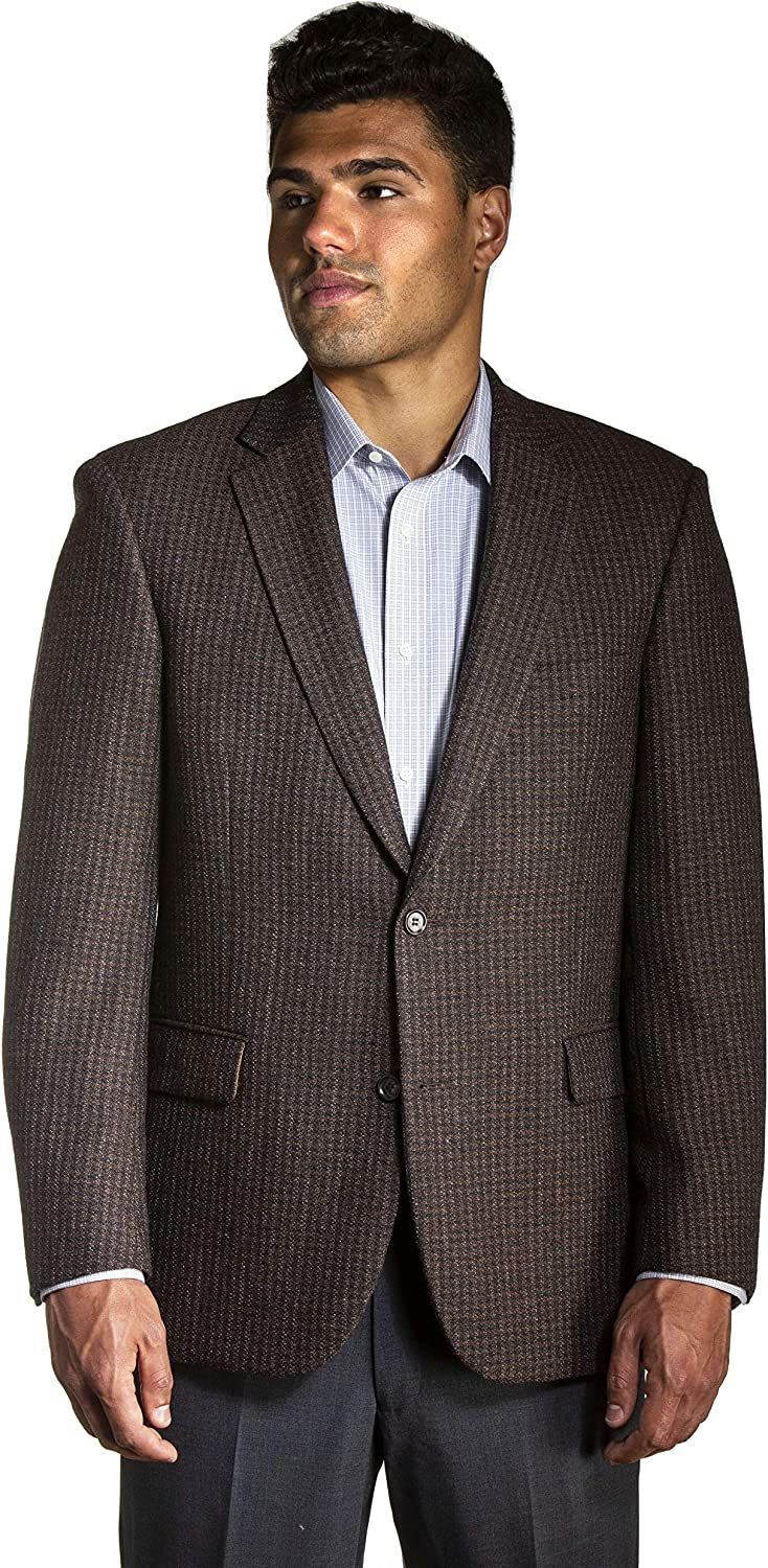 Big and Tall Luxury All Wool Blend Modern Business and Casual Sport Jacket to Size 60 in Short, Regular, and Long Sizes