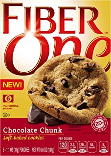 Fiber One Cookies, Soft Baked Chocolate Chunk Cookies, 1.1 Ounce, Pack of 6