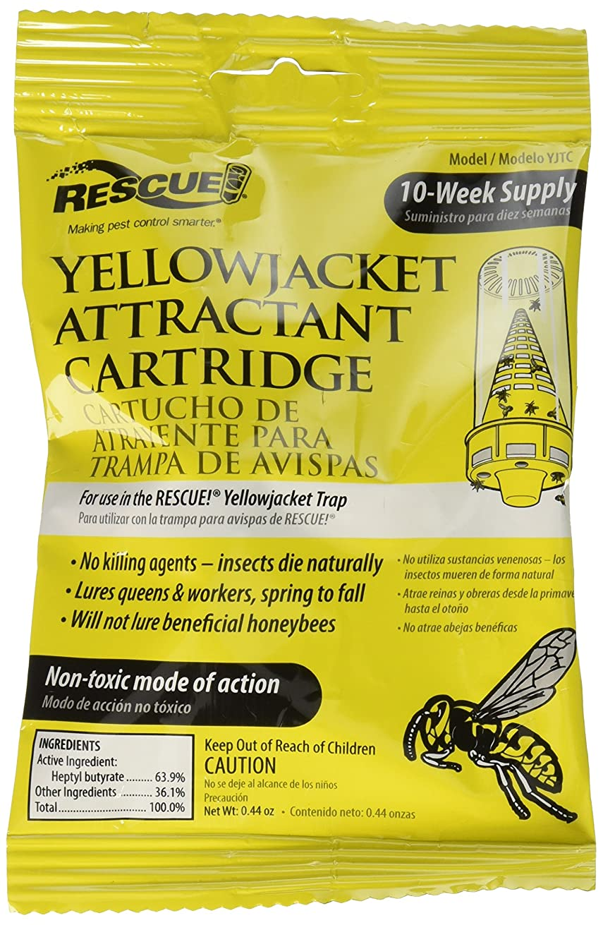 9-pack RESCUE!Yellow Jacket Attractant Cartridge; It works inside the RESCUE!Reusable Yellowjacket Trap to lure all major species of yellowjackets;Will not lure beneficial honeybees;Non-toxic