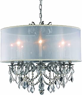 Elegant Lighting 9508D24PW/SA Marseille Collection 8-Light Hanging Fixture with Royal Cut Crystal, Pewter Finish