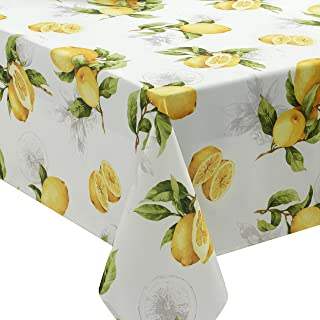 Benson Mills 183467 Spring Summer Limoncello Indoor Outdoor Spillproof Tablecloth, 60-by-104 Oblong Rectangular