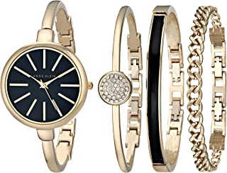 Anne Klein Women's Gold-Tone Bangle Watch and Swarovski Crystal Bracelet Set, AK/1470