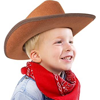 Narwhal Novelties Junior Cowboy Hat, Brown with Bandanna, Red; Bandanna & Cowboy Hat for Kids, Unisex