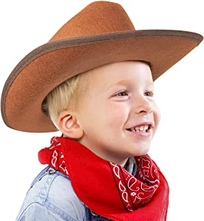 Narwhal Novelties Junior Cowboy Hat، Brown with Bandanna، Red؛ باندانا