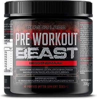 Pre Workout Beast (Bessen Smaak) – Een Hardcore pre-Workout Supplement met Creatine, Caffeine, Beta-Alanine en Glutamine (...