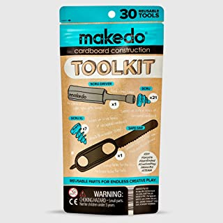 Makedo Cardboard Construction Toolkit, Includes 30 Kid-Friendly Reusable Tools, Perfect for Classroom STEM, STEAM Learning and at-Home Play for Kids Age 4+